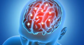 medical background with male figure with brain parts highlighted